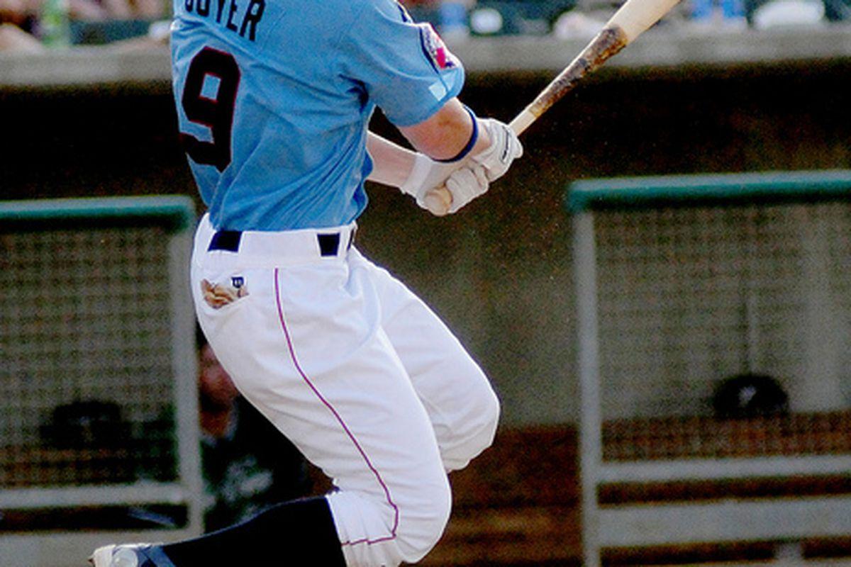 <em>Brandon Guyer, Cubs Minor League Player of the Year. Photo courtesy of Roger C. Hoover and www.smokiesonradio.com</em>