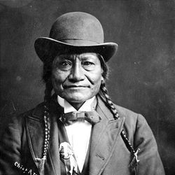 Photo shows a Ute Indian chief during the Utah territorial period.