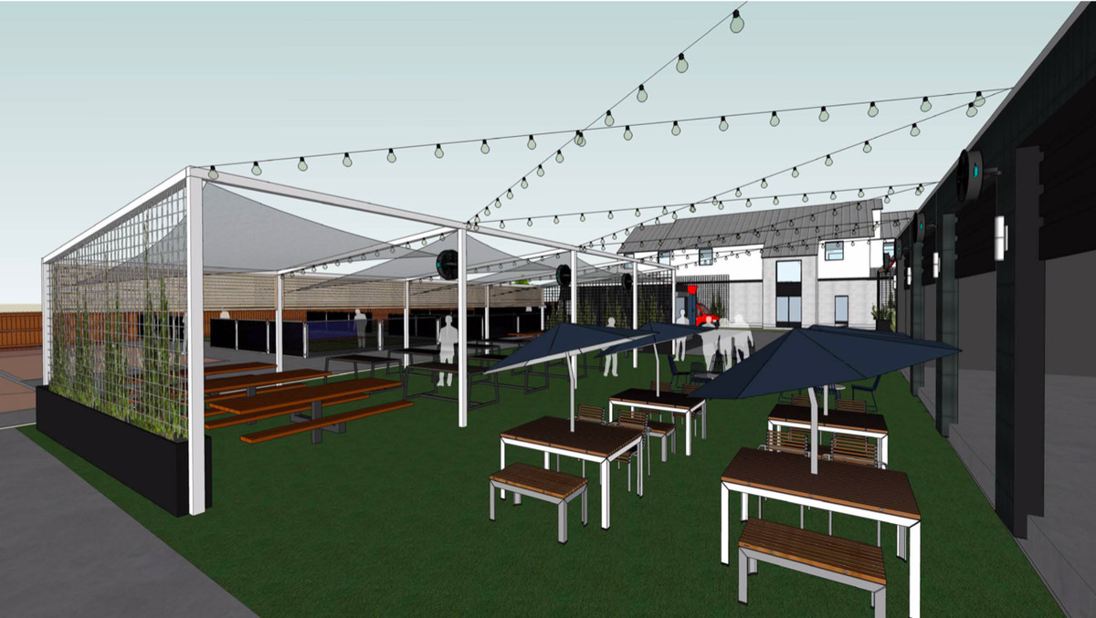 A rendering of a patio with picnic tables, string lights, and an awning