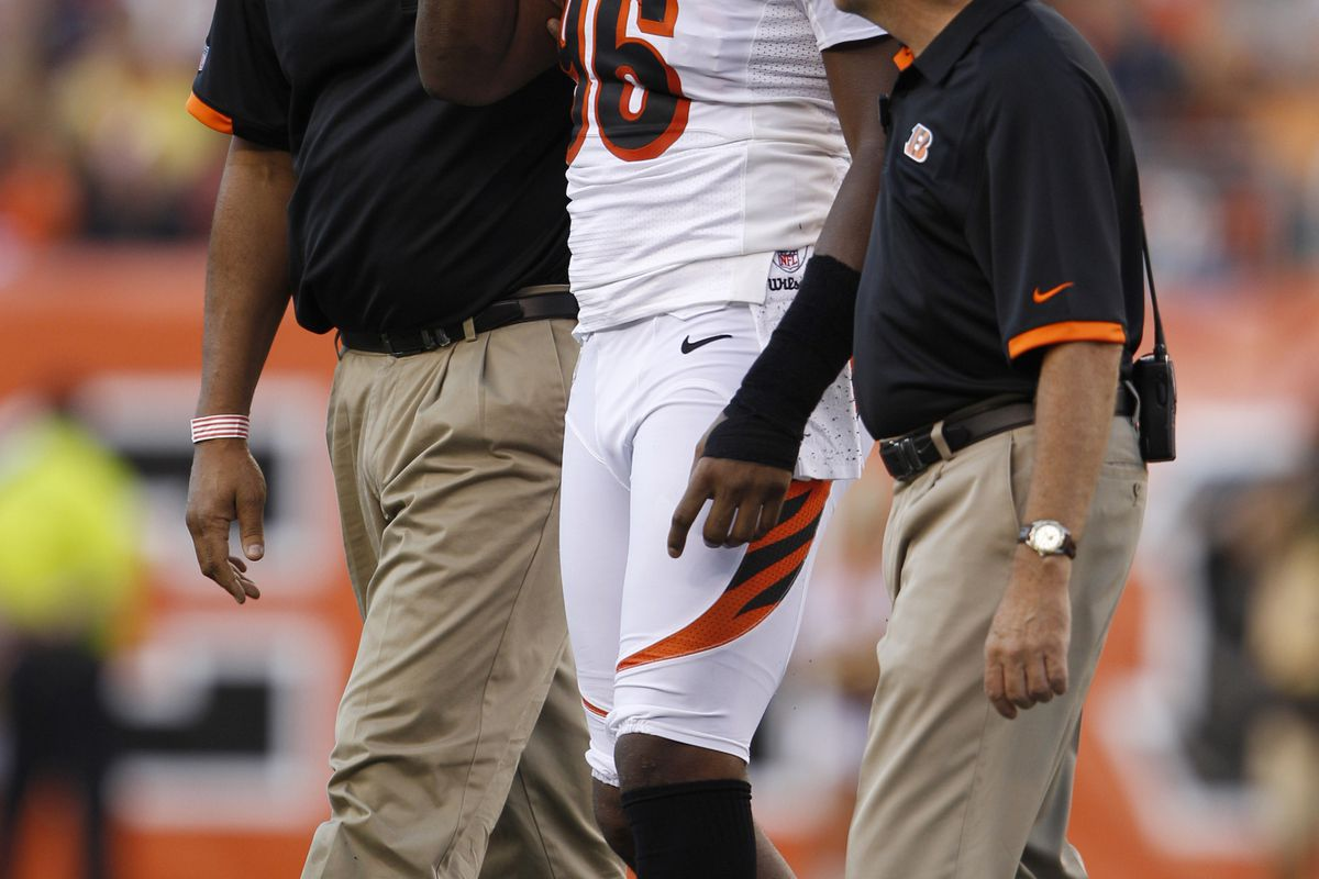 Aug 10, 2012; Cincinnati, OH, USA; Cincinnati Bengals defensive end Carlos Dunlap (96) is helped off the field by trainers during the game against the New York Jets at Paul Brown Stadium.  Mandatory Credit: Frank Victores-US PRESSWIRE