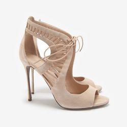 "In our version of Botticelli's <i> Birth of Venus </i>, these breathtaking sandals emerge from the sea in all their glory. Sergio Rossi Turbillion Suede Open Toe Stiletto Bootie, $975 at <a href=""http://www.intermixonline.com/product/sergio+rossi+turbilli"