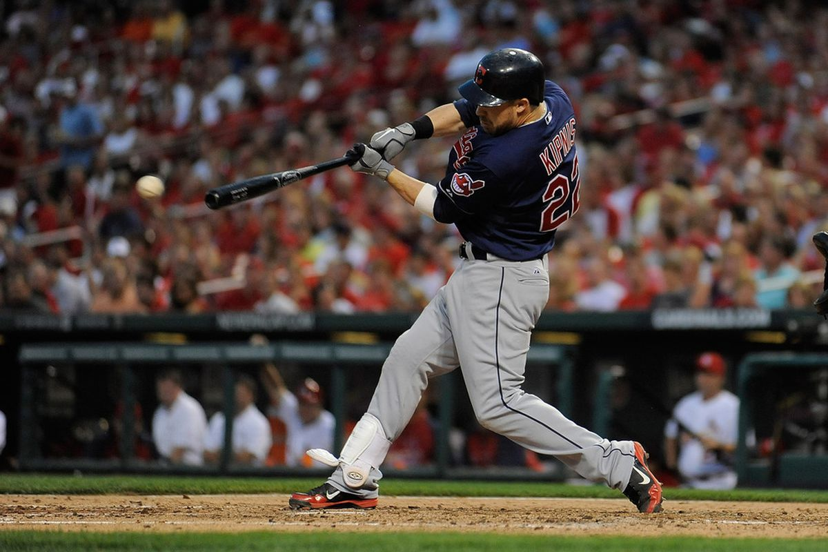 St. Louis, MO - June 8: Jason Kipnis #22 of the Cleveland Indians hits a open run single against the St. Louis Cardinals at Busch Stadium on June 8, 2012 in St. Louis, Missouri. (Photo by Jeff Curry/Getty Images)
