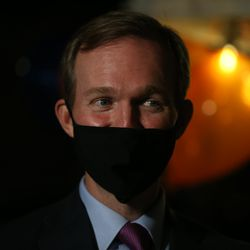 Rep. Ben McAdams, D-Utah, stands outside of Pat's Barbecue in Salt Lake City on election night, Tuesday, Nov. 3, 2020. McAdams is trying to win a second term and is being challenged by Republican Burgess Owens.