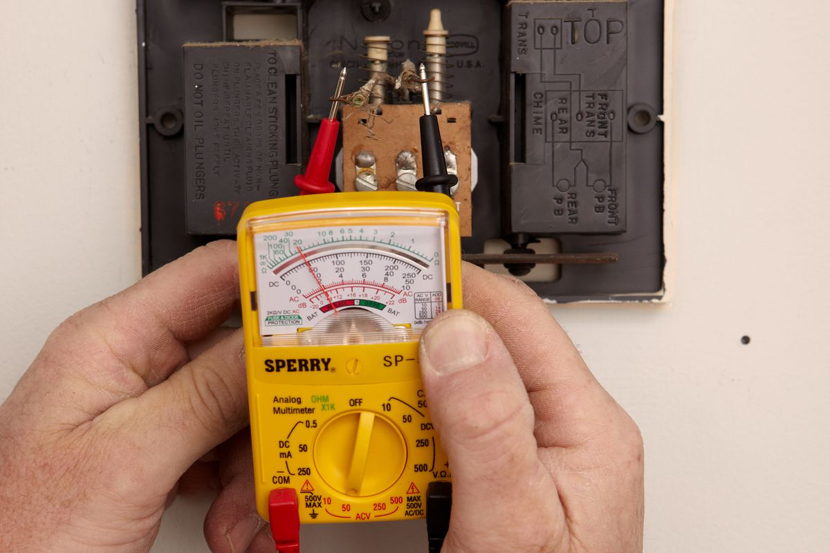 Test the doorbell chime with a multimeter.