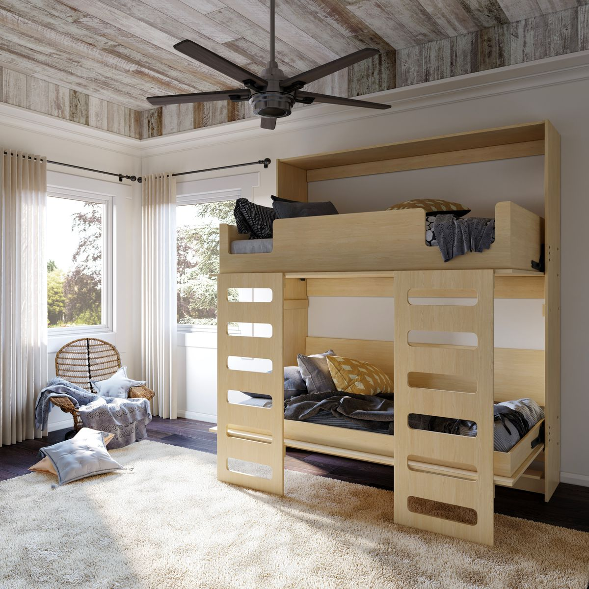 Murphy bed open with bunk-style beds.