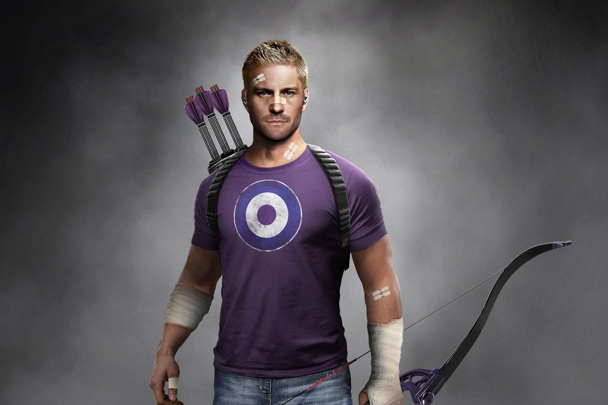 Clint Barton aka Hawkeye wears a target purple t-shirt and holds his bow in the Marvel's Avengers game
