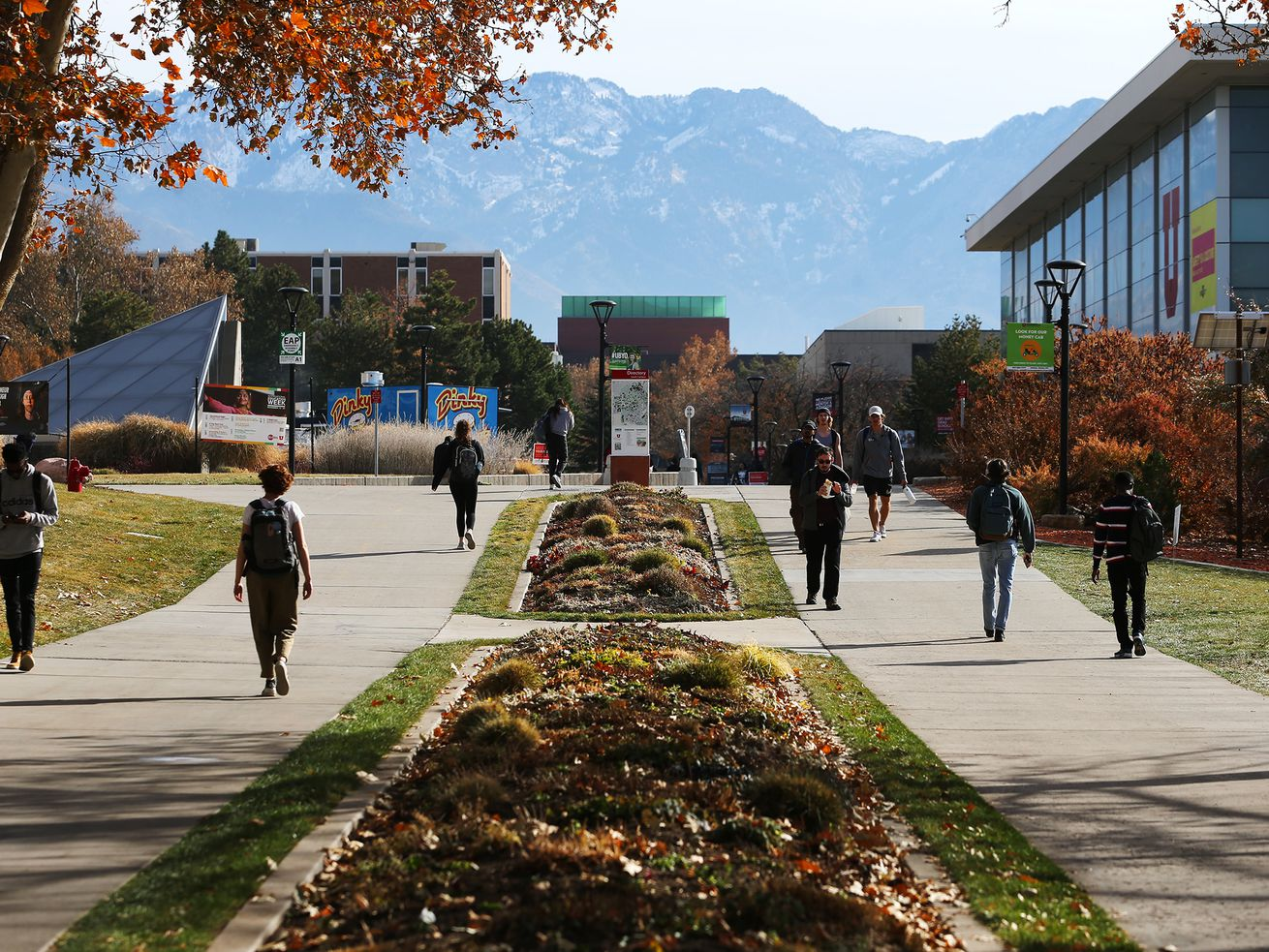 Students walk through the University of Utah campus in Salt Lake City on Monday, Nov. 18, 2019.