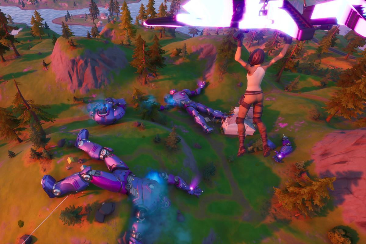 A Fortnite player landing near the Sentinels