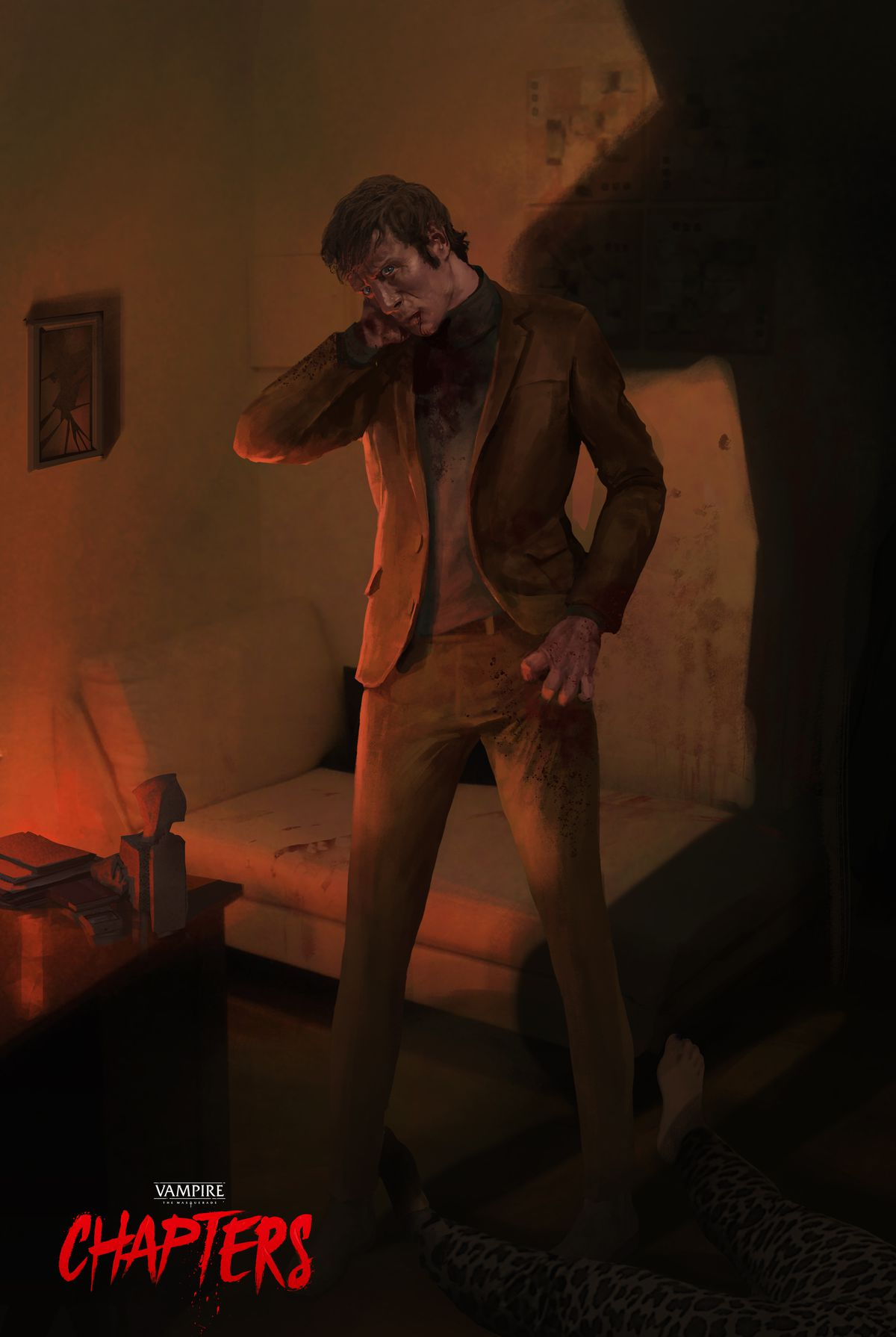 A man stands over a body in a bloody apartment. His neck is bleeding. He's wearing a well tailored brown suit.