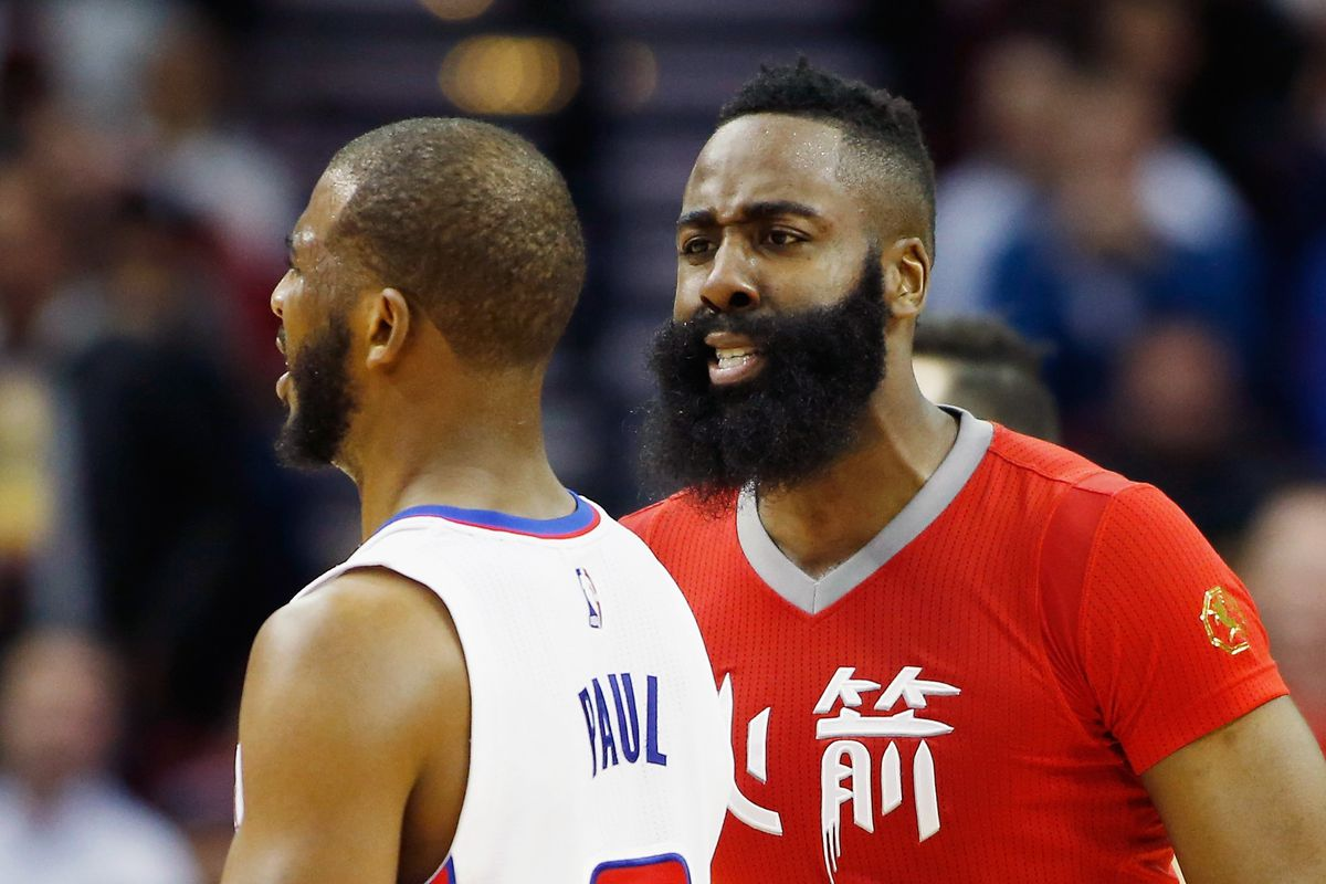 Houston Rockets star James Harden (R) finally played a (reasonably) good game against Chris Paul (L) and the Los Angeles Clippers