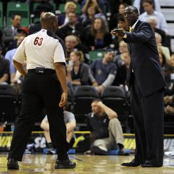 Utah Head Coach Tyrone Corbin questions a call in the second half of a game at the Energy Solutions Arena on Wednesday, October 16, 2013.