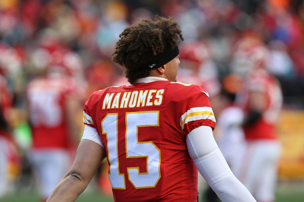 Kansas City Chiefs quarterback Patrick Mahomes (15) warms up during a timeout in the third quarter of a week 16 NFL game between the Miami Dolphins and Kansas City Chiefs on December 24, 2017 at Arrowhead Stadium in Kansas City, MO.