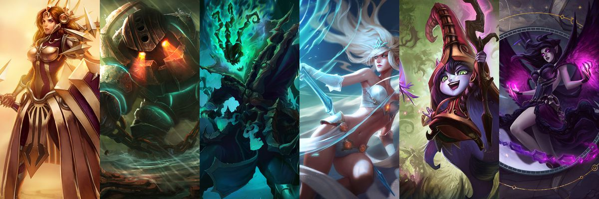 The splash art for the six champions that go well with Aphelios