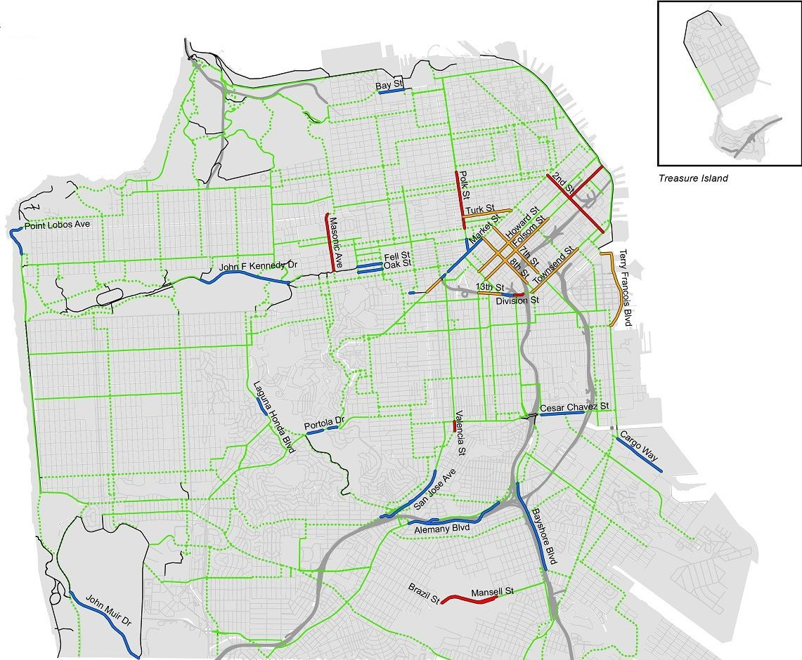 Blue lanes show where protections are already in place, while orange and red lanes indicate planned or in-process safety additions.