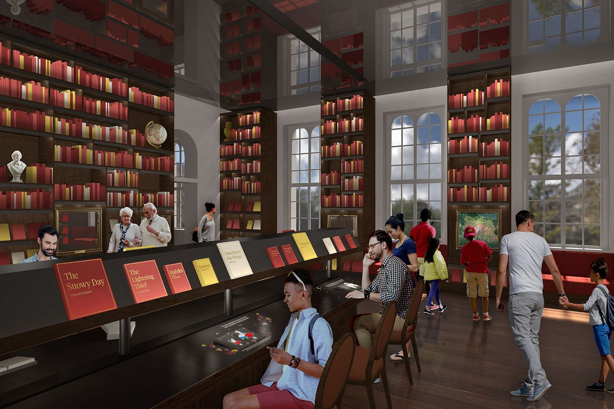 A rendering of a library room with tall ceilings and bookshelves. People sit at desks and look at paintings along the wall.