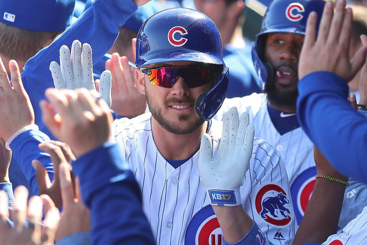 a8d18c2fa Cubs star Kris Bryant reacts to Mike Trout s record-breaking contract  extension