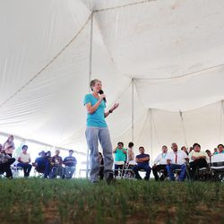 Interior Secretary Sally Jewell speaks to a group of Native Americans near the Bears Ears in southern Utah on Friday, July 15, 2016. During her trip to the region, she said she was shocked by the lack of protection for Native American cultural sites. Today, President Barack Obama declared the Bears Ears National Monument in southeast Utah.