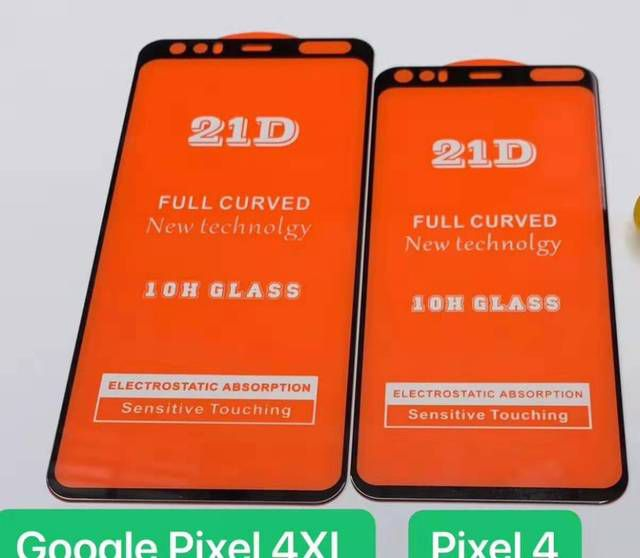 A leaked image of the front glass on the Pixel 4