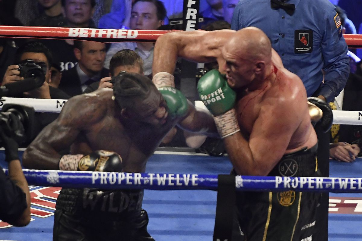 Tyson Fury goes 7 rounds with Deontay Wilder at the MGM Grand Hotel February 22, 2020 in Las Vegas, Nevada. Tyson Fury took the win by TKO in the 7th round as the towel was thrown in by the Wilder team for the world heavyweight championship in Las Vegas, Nevada.