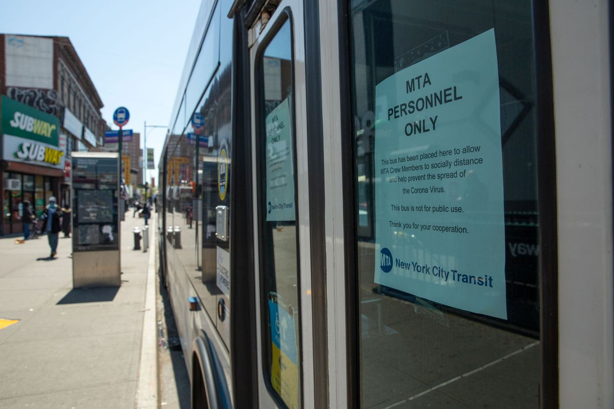 The MTA set up an isolation bus for workers outside the Flatbush Avenue-Brooklyn College station, May 13, 2020.