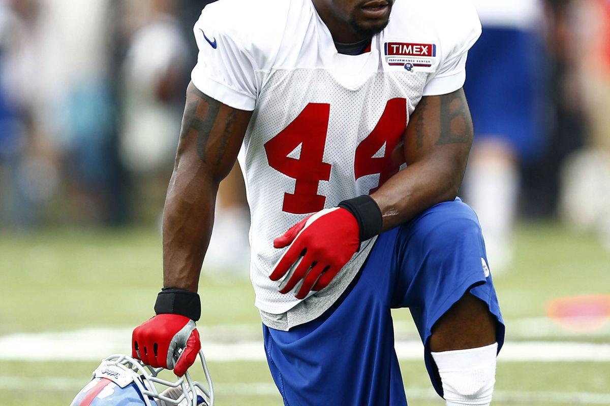 Jul 28, 2012; Albany, NY, USA; New York Giants running back Ahmad Bradshaw (44) during training camp at University Field at SUNY Albany.  Mark L. Baer-US PRESSWIRE