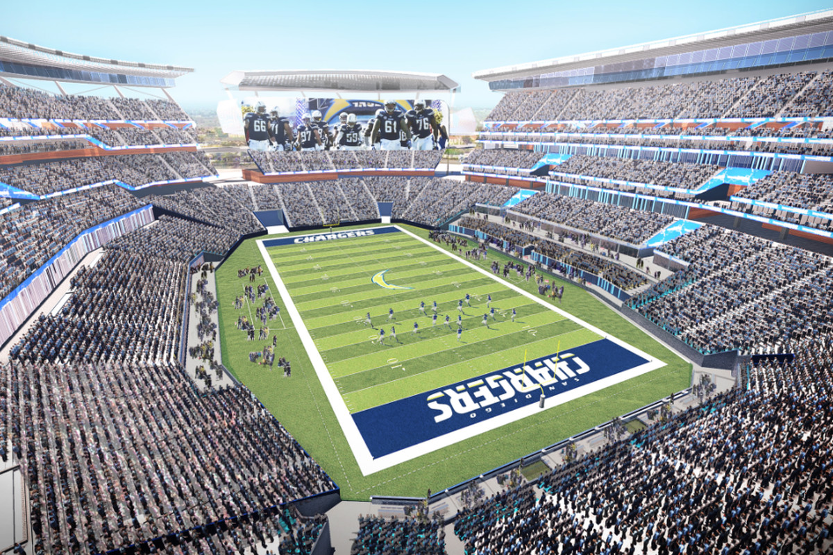 A rendering of San Diego's proposed Mission Valley stadium