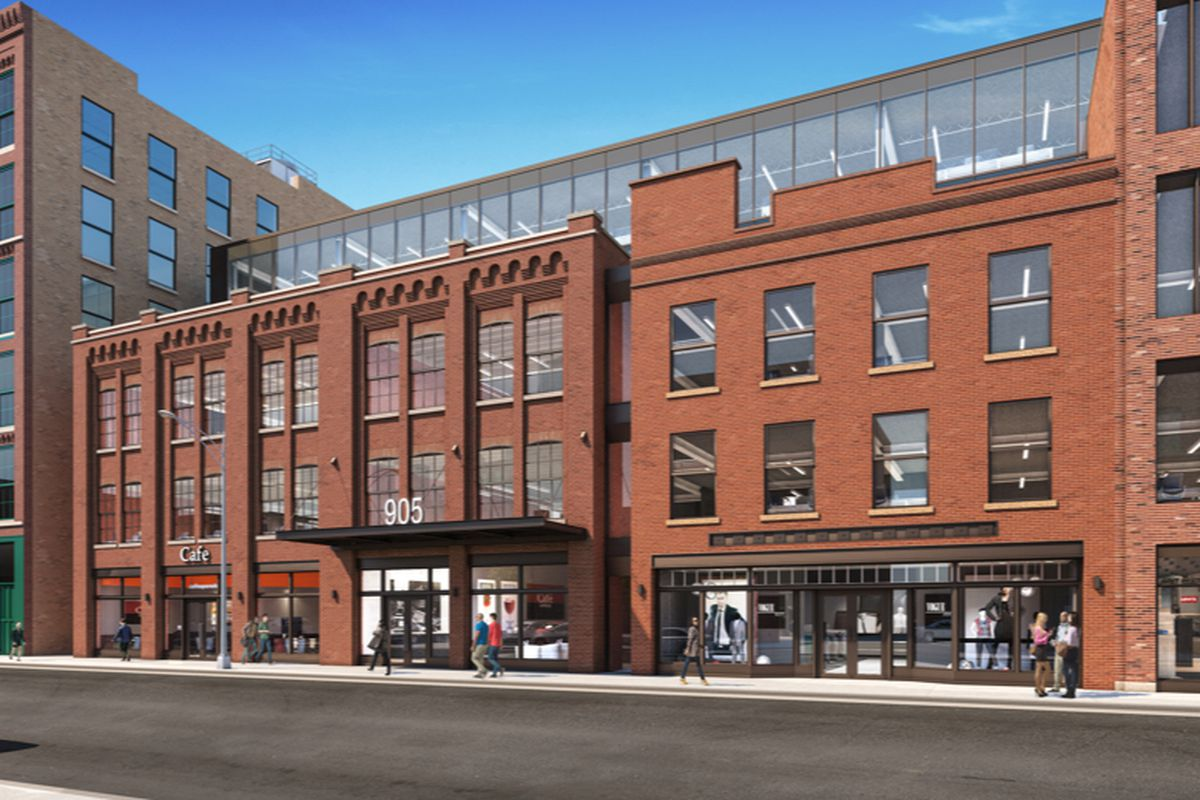 A rendering of a large new brick development on Chicago's Fulton Market