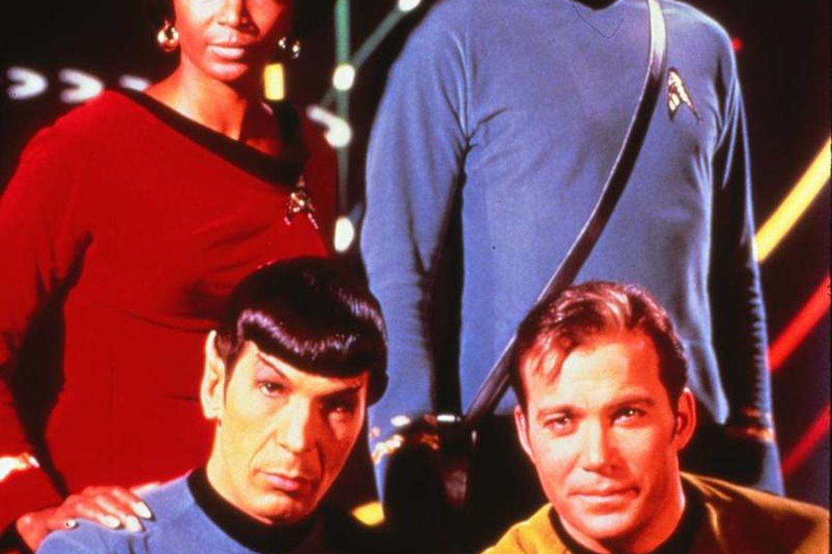 "The original cast of ""Star Trek"": Nichelle Nichols as Uhura, back left; DeForest Kelley as Dr. McCoy; Leonard Nimoy as Mr. Spock, front left; and WIlliam Shatner as Captain James T. Kirk"
