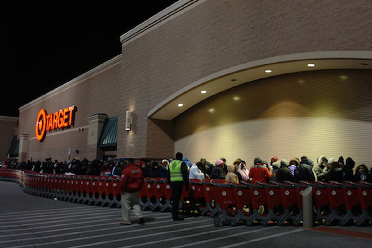 """""""The line at some places numbered five or six people deep"""" via Racked Chicago at Target on Elston on Black Friday 2010"""