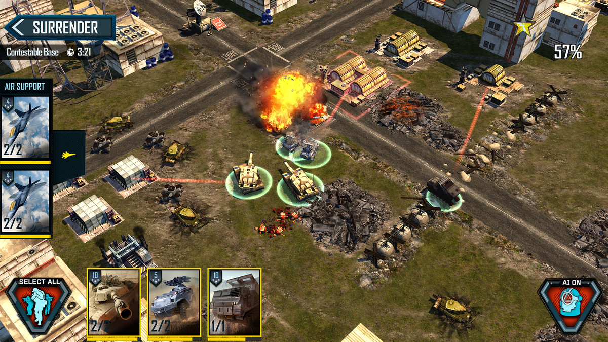 A view of the game on a mobile device, showing the heads-up display and buttons