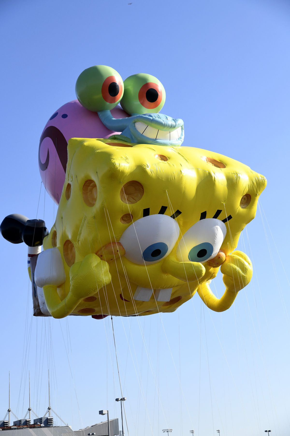 Spongebob Squarepants & Gary by Nickelodeon is seen as Macy's unveils new giant character balloons for the 93rd annual Macy's Thanksgiving Day Parade
