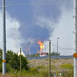 Fire and smoke rise from a gas pipeline distribution center in Reynosa, Mexico near Mexico's border with the United States, Tuesday Sept. 18, 2012. Mexico's state-owned oil company, Petroleos Mexicanos, also known as Pemex said the fire had been extinguished and the pipeline had been shut off but ten people were killed during the incident.