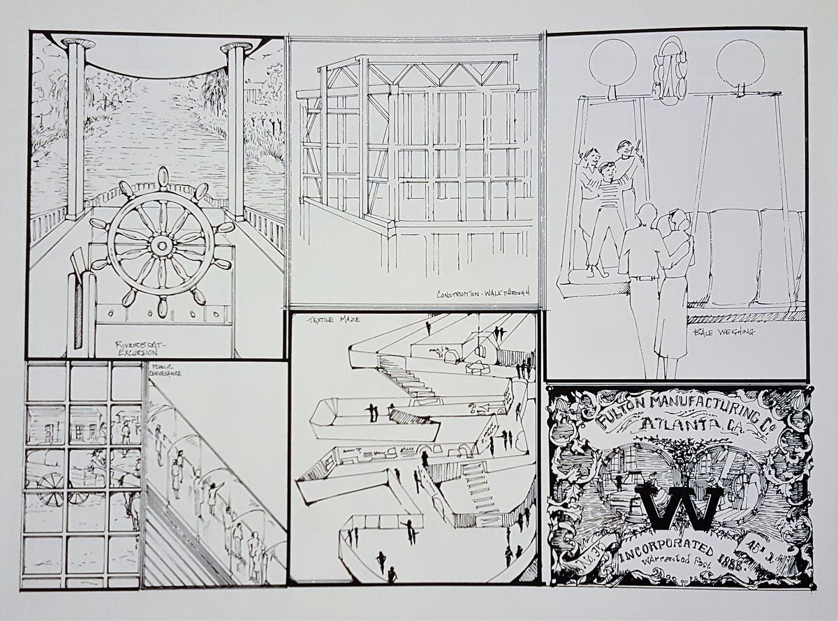 """More sketches of prospective uses of the site, including a """"textile maze"""" and a """"riverboat excursion"""" feature."""