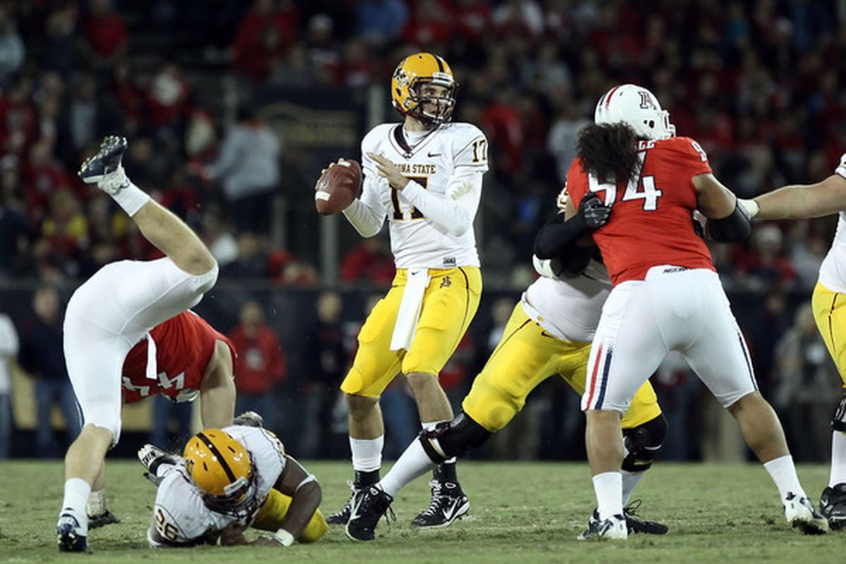 Quarterback Brock Osweiler will look to lead the Sun Devils to a Pac-12 South Championship in 2011. I think he does, making the Sun Devils my top team to be better than the experts think. (Photo by Christian Petersen/Getty Images)