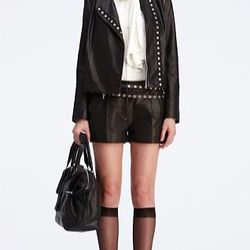 """<a href=""""http://www.dvfsamplesale.com/Emily%20Leather%20Jacket/S5475310T12,default,pd.html?dwvar_S5475310T12_color=BLACK"""">Emily Leather Jacket</a>, $318 (was $795)"""
