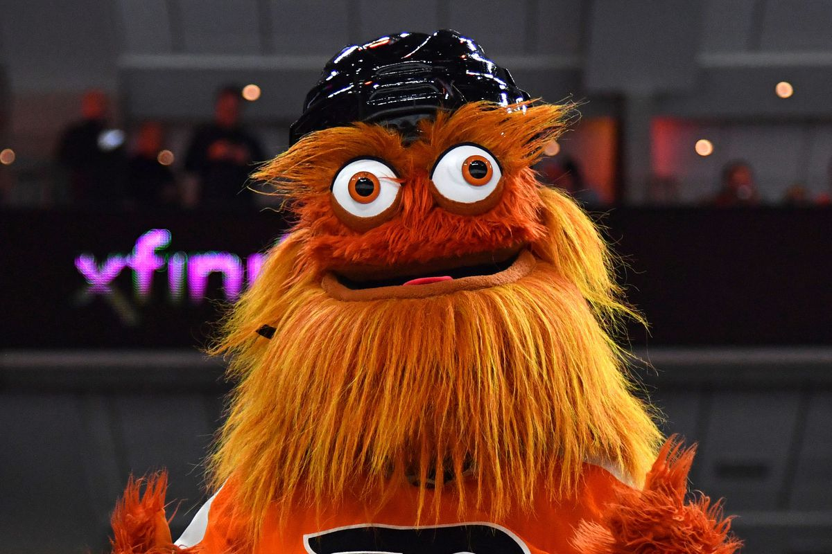 Philadelphia Flyers mascot Gritty performs against the Montreal Canadiens at Wells Fargo Center.