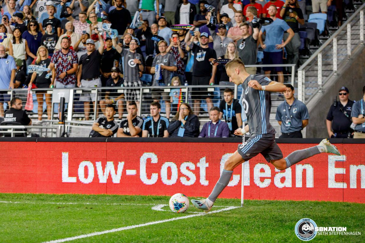 August 7, 2019 - Saint Paul, Minnesota, United States - Minnesota United midfielder Ján Greguš (8) takes a corner kick during the US Open Cup semifinal match against the Portland Timbers at Allianz Field.