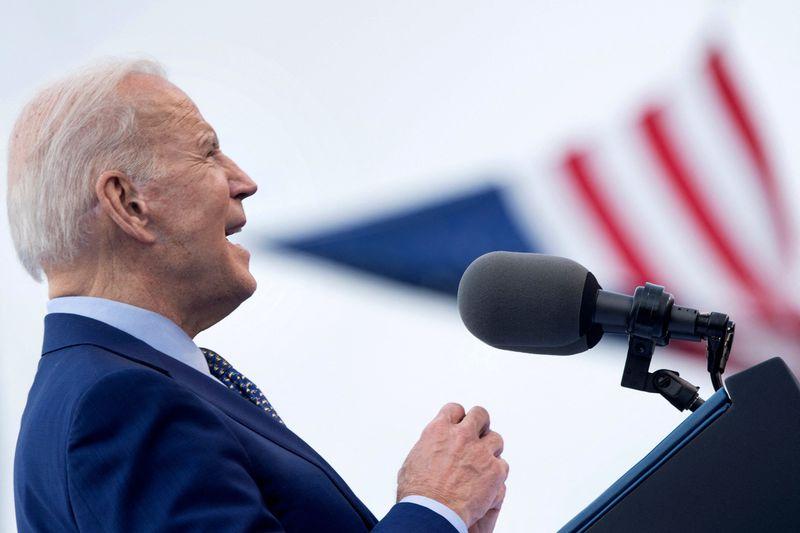 President Joe Biden speaks during a rally in Georgia in April.