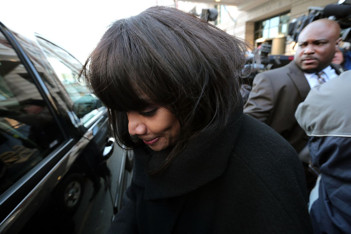 Sandi Jackson, shown in February leaving court after pleading guilty, served time at a prison in West Virginia.   Getty Images