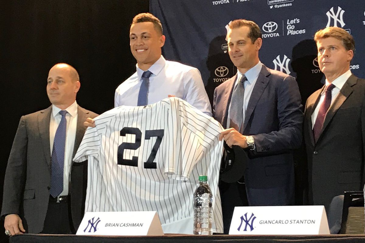 Giancarlo Stanton Introduced With The New York Yankees