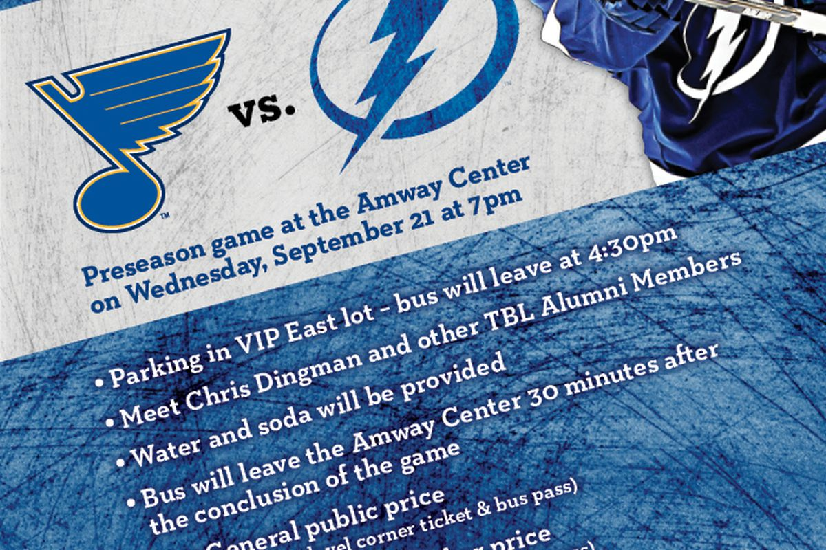 Details about the Tampa Bay Lightning bus-plus-ticket promotion for September 21st.  Call 813-301-6887 by 5PM tonight to get in on this.
