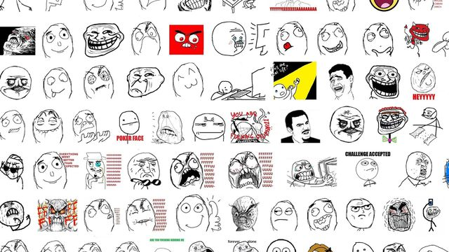 A selection of faces used in the making of rage face comics.