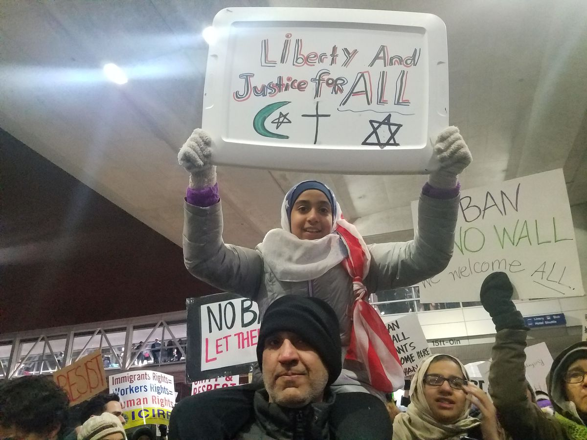 From young to old, hundreds gathered outside O'Hare Jan. 29 on the second consecutive night of protesting President Donald Trump's executive order banning entry to the U.S. from seven Middle East countries. | Nader Issa/Sun-Times
