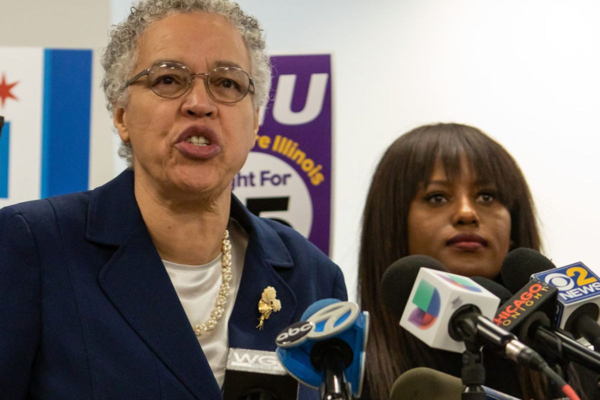 Mayoral candidate Toni Preckwinkle speaking at a press conference in December after receiving endorsements from the Chicago Teachers Union and other labor groups, including SEIU. THe woman to her right is Teachers union Vice President Stacy Davis Gates.
