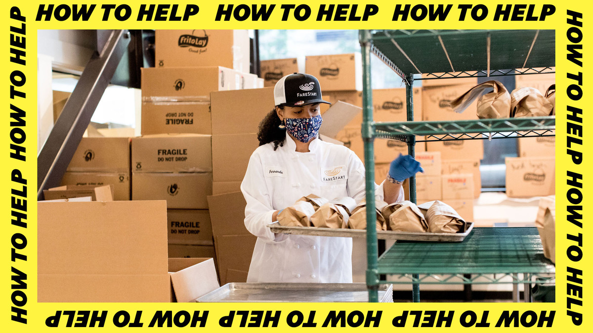 A woman wearing a FareStart white coat and cap helps stock food in a warehouse.