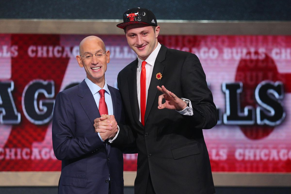 Jusuf Nurkic pictured with NBA commish Adam Silver.