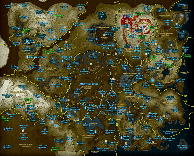 Botw shrine map and location guide polygon the shrines added with the champions ballad dlc appear in green on each map sciox Choice Image