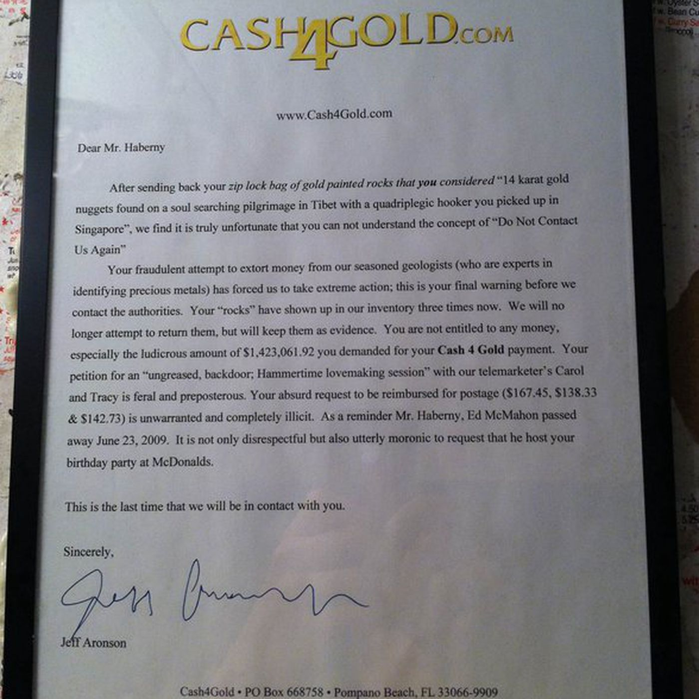 guy screws with cash 4 gold promptly receives amazing letter in