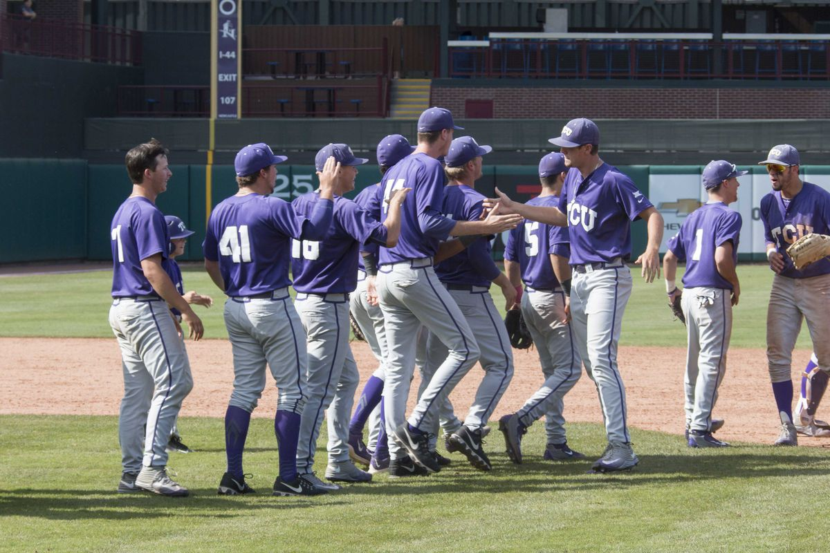 The Frogs celebrate victory with their teammates at the Big 12 tournament last weekend