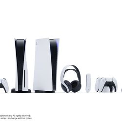 PlayStation 5 hardware and accessories. Left to right: DualSense controller, PS5, PS5 Digital Edition, Pulse 3D Wireless Headset, Media Remote, DualSense Charging Station, and HD Camera.